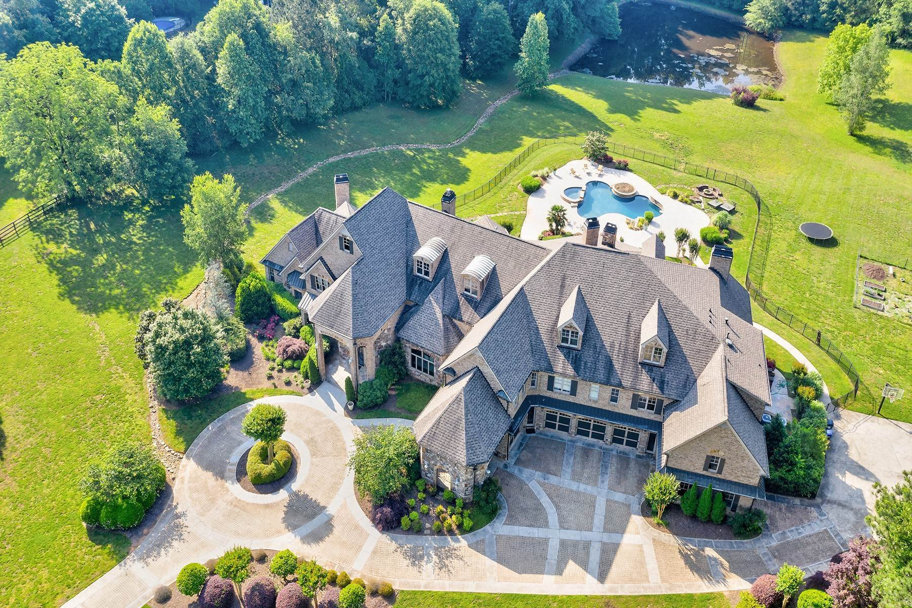 Single Family Homes for Sale at A Dreamy European-Style Estate Waits For Your Arrival 4186 N Arnold Mill Road Woodstock, Georgia 30188 United States